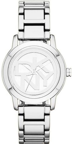 The DKNY logo marks the numberless dial of a go-to bracelet watch polished to a brilliant, eye-catching case; Used Watches, Round Logo, Metal Bracelets, Stainless Steel Watch, Bracelet Sizes, Luxury Watches, Michael Kors Watch, Bracelet Watch, Fashion Accessories