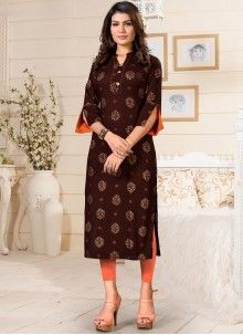 Buy Party Wear Kurti Print Rayon in Brown Online Blue Party, Green Party, Rayon Kurtis, Working Blue, Party Wear Kurtis, Latest Kurti, Printed Kurti, Traditional Sarees, Brown Fashion
