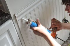 pretty good tutorial on how to install beadboard: helpful tips on cutting, fitting, coping, corners, and terminations. How To Install Beadboard, Installing Wainscoting, Wainscoting Height, Faux Wainscoting, Wainscoting Styles, Bathroom With Wainscotting, Wainscoting Kitchen, Bead Board Bathroom, Bead Board Walls