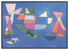 Sailing Boats by Expressionist Artist Paul Klee Counted Cross Stitch or Counted Needlepoint Pattern