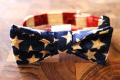 Dog bow tie and Dog collar combo in Red White and by SpiffyPups, $21.00