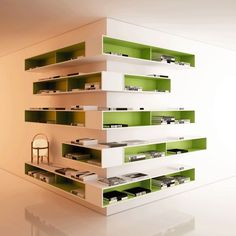 Decorative and Functional Corner Shelves... Not in my house, but it looks awesome!
