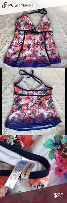 NANETTE LEPORE Floral Print Tankini Swimsuit Top Make this yours!  Designer Nanette Lepore Floral Print Halter Bathing Suit Swimsuit Top. White with Purple Bow and Piping.   Tag Size: Large  Condition: No signs of wear Nanette Lepore Swim Bikinis