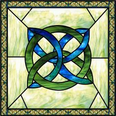 Celtic Knot Square Blue Faux Privacy Stained Glass Clings and Window Films
