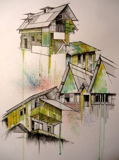 Architectural render - Hand drawn house with watercolor clean, straight lines are juxtaposed with loose, expressive water colour