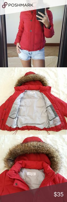Sale!🎉Calvin Klein Red Winter Coat Red Duck Down Calvin Klein Jacket, with detachable hood. Used in good condition, it has a couple of very small stains, barely noticeable! Please check pics 6-7. Size Small. Fast shipper!  🚫Holds or trades🚫  #calvinklein #jacket #calvinkleinjacket #winter #winterjacket #ck #shopping #fashion Calvin Klein Jackets & Coats