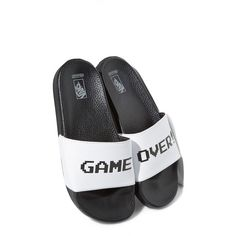 Women's Vans X Nintendo 'Game Over' Slide Sandal ($34) ❤ liked on Polyvore featuring shoes, sandals, white nintendo, vans footwear, white sandals, vans shoes, white slide sandals and white shoes