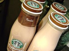Recipe for Starbucks Mocha Frappuccino Coffee Drink! - 2 cups strong brewed coffee, two Tbsp cocoa, half cup sugar,(I use cups milk and cup whole cream. I refill the starbucks bottles and keep them in our fridge for my man! Starbucks Mocha Frappuccino Recipe, Mocha Recipe, Starbucks Recipes, Coffee Recipes, Homemade Frappuccino, Starbucks Bottles, Starbucks Drinks, Starbucks Coffee, Coffee Drinks