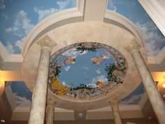 Painted Ceiling Murals using trompe l'oeil and faux finishes  to create illusions on ceilings...domes, vaulted, coffers or flat