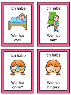 Free! I have Who has. This German game can be played to introduce and practice first German prepositions. The game has 16 cards. I hope you and your students enjoy this little game! Please let me know how you like it, thank you!