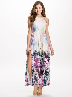 Halter Neck Side Split Maxi Dress - Ginger Fizz - Multi Print - Juhlamekot - Vaatteet - Nainen - Nelly.com
