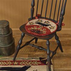 Folk Crow Hooked Chair Pad