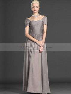 Short Sleeved Criss Cross Bodice Floor Length Chiffon Mother of the Bride Dress with Brooch