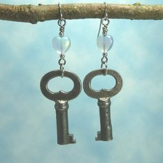 Handmade Earrings   Vintage Key   Heart by Hyacinthsbyme on Etsy, $14.00