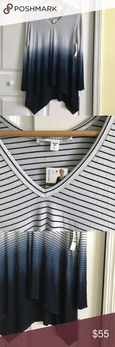 NWT Karen Kane hi lo striped long sleeve top NWT Karen Kane striped long sleeve top in ombré. Very soft and comfortable. Karen Kane Tops Tees - Long Sleeve