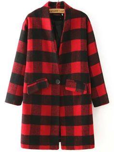 Red Black Stand Collar Plaid Coat 38.63