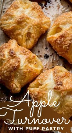 Apple Recipes With Puff Pastry, Apple Turnovers With Puff Pastry, Puff Pastry Desserts, Apple Dessert Recipes, Puff Pastries, Appetizer Recipes, Apple Turnover Recipe, Turnover Recipes, Baking Basics