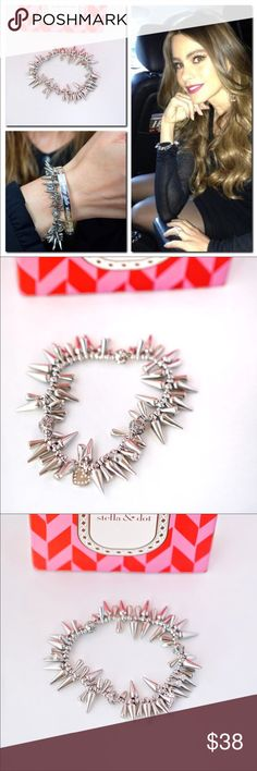 Stella Dot Renegade Cluster Spikes Bracelet Silver New in box. Retail at: $59 This is THE bracelet you need to have. You probably have seen it in tons of photos.   When you're feeling a little bit fierce, a little bit wild, put on the Stella & Dot Renegade stretchable cluster bracelet to match your mood. A mix of cool spikes and black beads gives this stretchable bracelet a look that's on the cutting edge of fashion.   * Stretchable cluster bracelet with mix of spikes and black, diamond-cut…