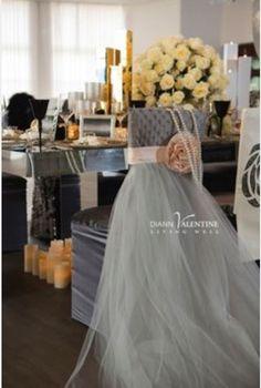 Bridal veil on chair