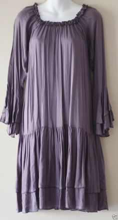 BOHO HIPPY CHIC SALE Ladies Purple Peasant Prairie Dress Long Sleeve Size Medium
