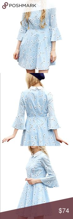 🎈Weekend Sale! Pale blue dogwood dress Pale blue dress with white flowers and satin-y collar. This is beautiful! If it doesn't sell by Easter, I'm keeping it! Dresses Mini