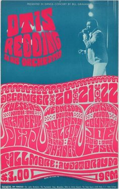 Presented in Dance-Concert by Bill Graham Otis Redding & His Orchestra Grateful Dead / Johnny Talcot and de Thangs / Country Joe and the Fish December 1966 @ Fillmore Auditorium - San Francisco © 1966 Wes Wilson Hippie Posters, Rock Posters, Band Posters, Psychedelic Rock, Psychedelic Posters, Vintage Concert Posters, Vintage Posters, Vintage Quotes, Woodstock