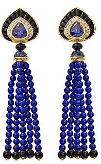 Marina B 18K Yellow Gold Saturnia Sapphire, Lapis Lazuli & Diamond Drop Earrings
