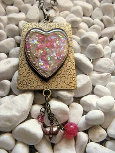 Pink Mica Heart Pendant Necklace Copper by MaggieMarieCreations, $36.00