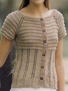 Knitting Patterns Boys, Knitting Stitches, Free Knitting, Knit Vest Pattern, Raglan, Knit Jacket, Blouse, Knitwear, Knit Crochet