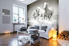 This beautiful black and white horse wallpaper will add an elegant touch to any room. Prices are per square metre. Murals are available for shipping worldwide.   Find this and more horse wallpaper murals at wallsauce.com.   Murals are available in three materials including a self-adhesive that doesn't require wallpaper paste.