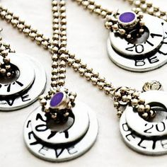 washer necklaces with steel stamps.  I must try these.