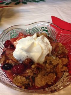 Cranberry Apple Crisp looks beautiful and tastes better! Just in time for Christmas...