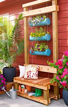 It's a bench. It's a planter. It's a piece of garden art. This multipurpose project is made of long-lasting cedar and duct-work pipe. -- Lowe's Creative Ideas