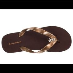 Tommy Bahama Pineapple Adorned Flip Flops Beautiful bronzed color flip flops/thong sandals feature a pretty pineapple at the top of each thonged section. Women's size 6. Brand new in package. No box. No trades, no holding, no offsite payment. PRICE IS FIRM Shoes