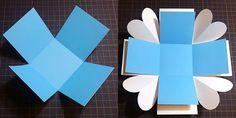 Crepe Paper Crafts, Surprise Box, Exploding Boxes, Scrapbook, Presents, Paper Boxes, Gifts, Patterns, Cartonnage