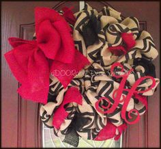 Chevron Burlap Initial Wreath by aDOORableDecoWreaths on Etsy, $87.99