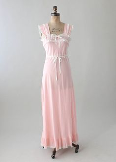 Vintage 1940s Joraine Pink Rayon and Lace Nightgown 32aa75886