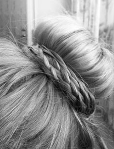 30 Unique Braids from Daily Makeover - Wrap your top knot with a some tiny, loose braids for the ultimate prima ballerina look.