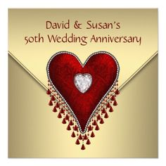 Red Heart Gold 50th Wedding Anniversary Party Custom Announcements lowest price for you. In addition you can compare price with another store and read helpful reviews. BuyDiscount Deals          Red Heart Gold 50th Wedding Anniversary Party Custom Announcements lowest price Fast Ship...