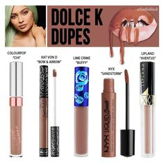 Kylie Jenner Cosmetics Dolce K Lipkit Dupes ❤ liked on Polyvore featuring beauty products and makeup