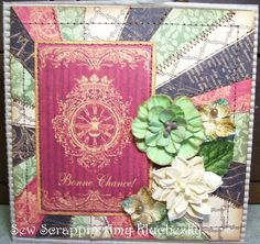 Made this card with French Country Papers by Graphic 45.  Petaloo Flowers.  I have a tutorial on Youtube how I do the rays.