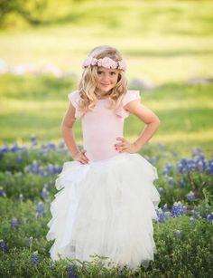 Girls Long White Ruffled Tulle Skirt