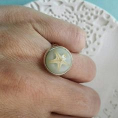 Real Starfish Ring. Silver Adjustable Beach Ring Under the Sea Star Coastal Mermaid Summer Ocean Ring Birthday Bridesmaid Wedding Gift by MyJewelsGarden Pressed Flowers Jewelry by Myjewelsgarden <3