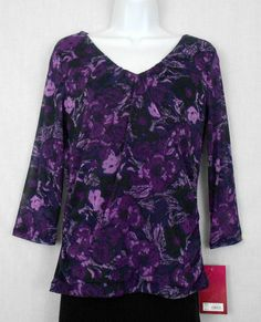 212 Collection Top Shirt Sz XS 100% Nylon Floral Print Shirred V-Neck 3/4 Slv