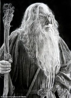 A hyper-real pencil portrait of actor Ian McKellen playing Gandalf the Grey in the film, Lord of the Rings