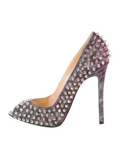 christian louboutin leather spike-embellished pumps