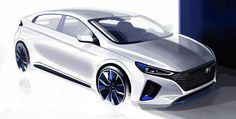 Hyundai Ioniq Hybrid sketches released ahead of world premiere and will be the first rival from the Korean carmaker to take on the Toyota Prius Car Design Sketch, Car Sketch, Exterior Rendering, Exterior Design, New Hyundai, Detroit Auto Show, Automotive Design, Auto Design, Toyota Prius