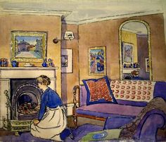 Douglas Fox Pitt:  Interior with Maid, 1913