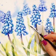 Blue muscari in a process Весной репертуар не шибко разнообразен но, я всё равно искренне люблю каждую свою работу, и пусть это уже десятые Мускарики за месяц!