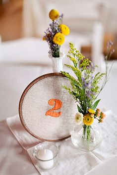 Table Numbers - Embroidered. So simple & such a sweet touch. Photography by beccawoodphotography.com #wedding #table #number